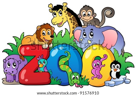 Zoo sign with various animals - vector illustration. - stock vector