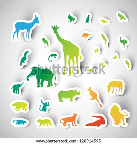 Zoo sticker animals collection, vector - stock vector