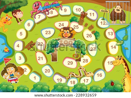 Zoo themed board game with numbers - stock vector