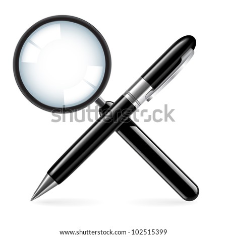 Zoom and pen. Illustration on white background - stock vector