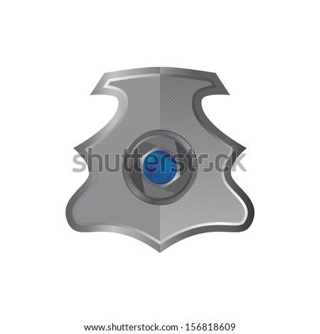 zoom camera lens inside shield - stock vector