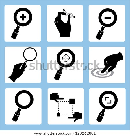 zoom icon, magnifying glass and hand set - stock vector