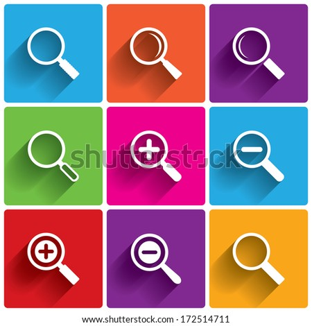 Zoom icons. Search symbols. Magnifier Glass signs. Vector illustration. - stock vector