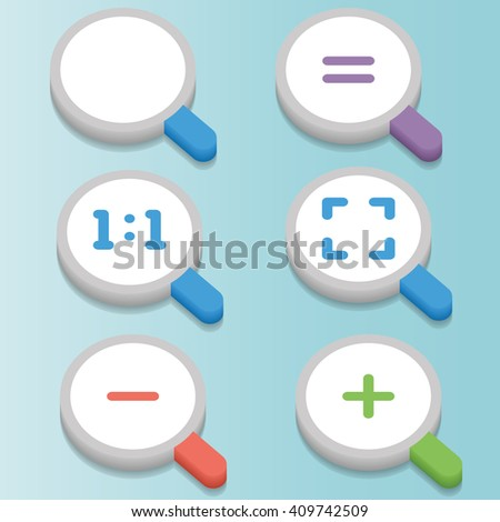 Zoom icons set in 3D Style. Zoom In, Zoom Out, Zoom Actual Size, Zoom Actual Equal, Zoom Fit. User interface flat icons. - stock vector