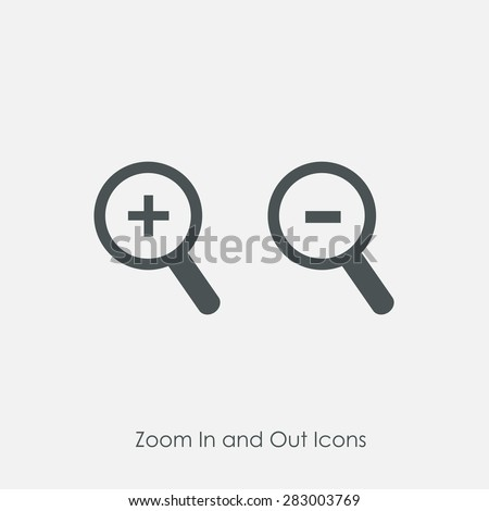 Zoom In and Zoom Out Icons. Simple zoom in, zoom out, magnifier glass icons, symbols. Vector illustration. Magnifying Glass Icon, magnifying glass, search icon, magnifying glass icon vector. - stock vector