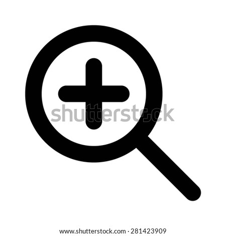 Zoom in magnifying glass flat icon for apps and websites - stock vector