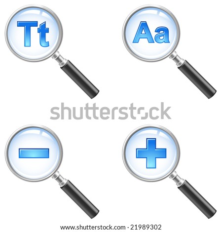 zoom in, out, find text icons - stock vector