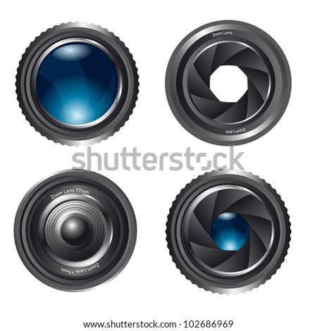 zoom lens isolated over white background. vector illustration - stock vector