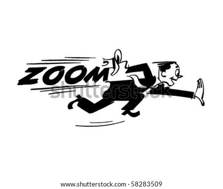 Zoom - Man Running Very Fast - Retro Clip Art - stock vector