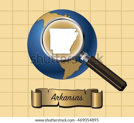 Zoom on Arkansas State on Globe Vector Illustration