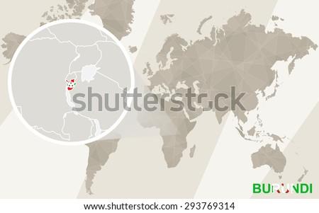 Zoom On Burundi Map Flag World Stock Vector Shutterstock - Where is burundi on a world map