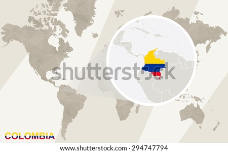 Zoom on colombia map flag world stock vector hd royalty free zoom on colombia map and flag world map gumiabroncs Choice Image
