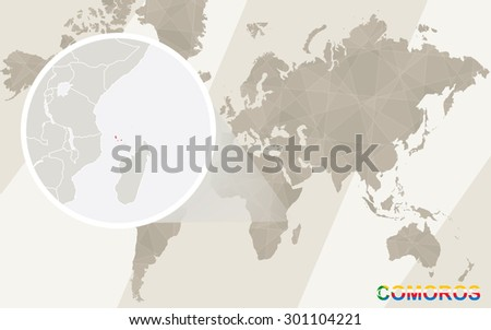Zoom on Comoros Map and Flag. World Map.  - stock vector
