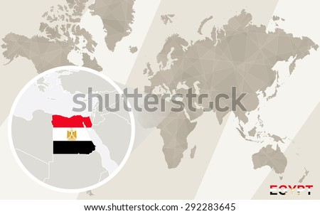 Zoom on Egypt Map and Flag. World Map.  - stock vector