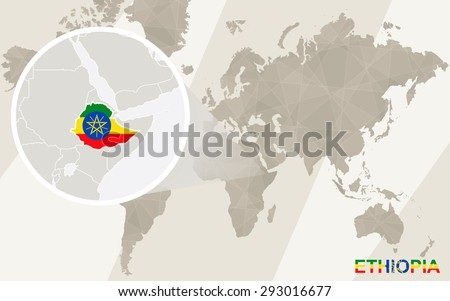 Zoom On Ethiopia Map Flag World Stock Vector 293016677 Shutterstock