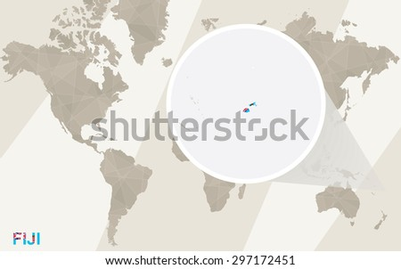 Zoom on Fiji Map and Flag. World Map.  - stock vector