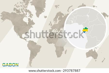 Zoom On Gabon Map Flag World Stock Vector Shutterstock - Where is gabon on the world map