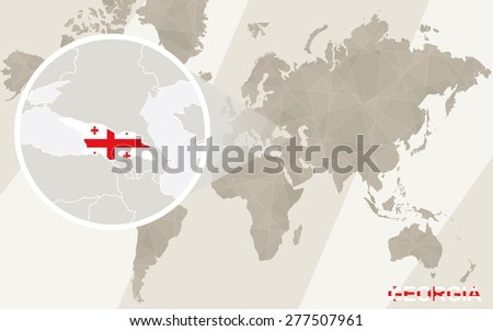 Zoom on Georgia Map and Flag. World Map.  - stock vector