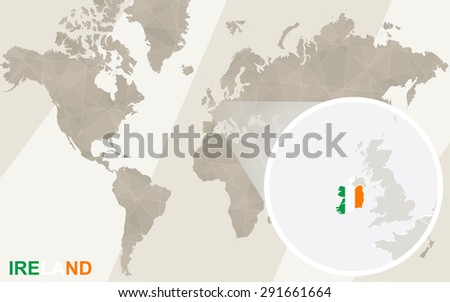 Zoom on ireland map flag world stock vector 291661664 shutterstock zoom on ireland map and flag world map gumiabroncs Gallery