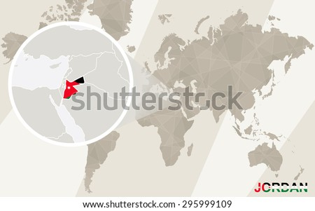 Zoom on Jordan Map and Flag. World Map.  - stock vector