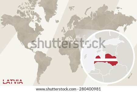 Zoom on Latvia Map and Flag. World Map. - stock vector
