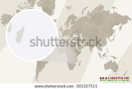 Zoom on Mauritius Map and Flag. World Map.  - stock vector