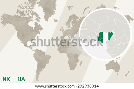 Zoom on nigeria map flag world stock photo photo vector zoom on nigeria map and flag world map gumiabroncs Gallery