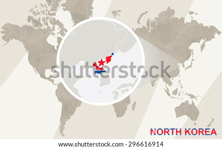 Zoom On North Korea Map Flag Stock Vector (Royalty Free) 296616914 ...