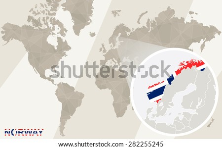 Zoom on Norway Map and Flag. World Map.  - stock vector