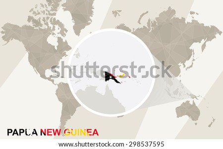 Zoom on Papua New Guinea Map and Flag. World Map. - stock vector