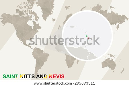 Zoom on Saint Kitts and Nevis Map and Flag. World Map.  - stock vector