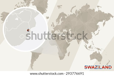 Zoom on Swaziland Map and Flag. World Map.  - stock vector