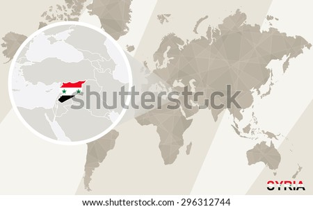Zoom on syria map flag world vectores en stock 296312744 shutterstock zoom on syria map and flag world map gumiabroncs Gallery