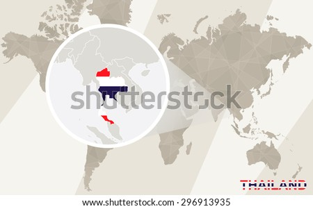 Zoom on Thailand Map and Flag. World Map.  - stock vector