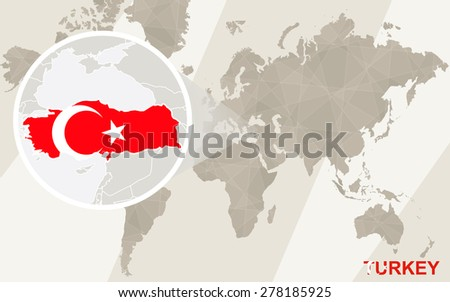 Zoom on Turkey Map and Flag. World Map.  - stock vector