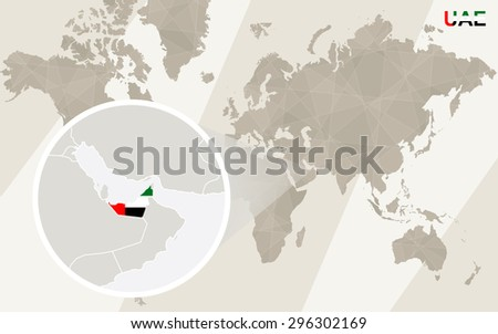 Zoom on United Arab Emirates Map and Flag. World Map.  - stock vector