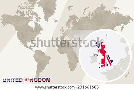 Zoom on United Kingdom Map and Flag. World Map.  - stock vector